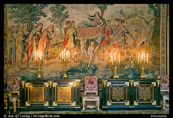 Furniture, lights, and tapestry, Chateau de Fontainebleau. France