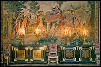 Furniture, lights, and tapestry, Chateau de Fontainebleau. France ( color)