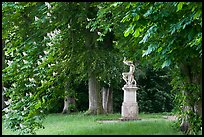 Sculpture, Horse chestnut trees (Aesculus hippocastanum), Chateau de Fontainebleau. France (color)