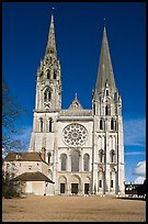 Flamboyant and pyramidal spires, Chartres Cathedral. France ( color)
