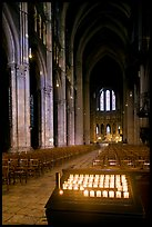 Candles, nave, and apse, Cathedral of Our Lady of Chartres,. France ( color)