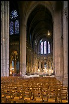 Transept crossing and stained glass, Chartres Cathedral. France ( color)