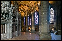 Ambulatory, chapel, and stained glass windows, Chartres Cathedral. France ( color)