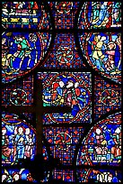 Stained glass window close-up, Cathedral of Our Lady of Chartres. France ( color)