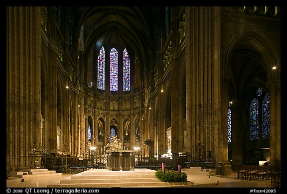 Altar and apse with clerestory windows, Cathedral of Our Lady of Chartres. France (color)