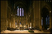 Altar and apse with clerestory windows, Cathedral of Our Lady of Chartres. France ( color)