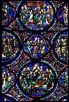 Stained glass window motif, Cathedral of Our Lady of Chartres. France ( color)