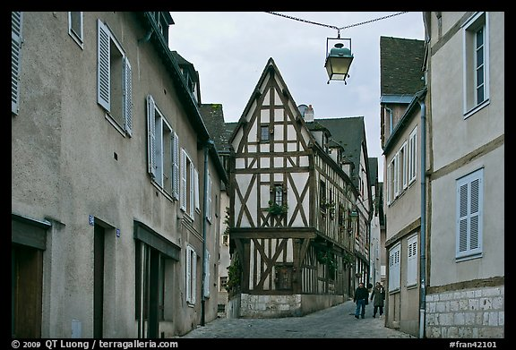 Street and half-timbered house, Chartres. France (color)