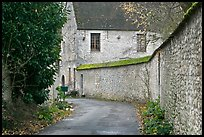 Street and stone wall, Provins. France ( color)