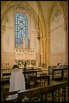 Monks praying in chapel, Saint Quiriace Collegiate Church, Provins. France ( color)