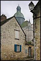 Stone houses and dome of Saint Quiriace Collegiate Church, Provins. France ( color)