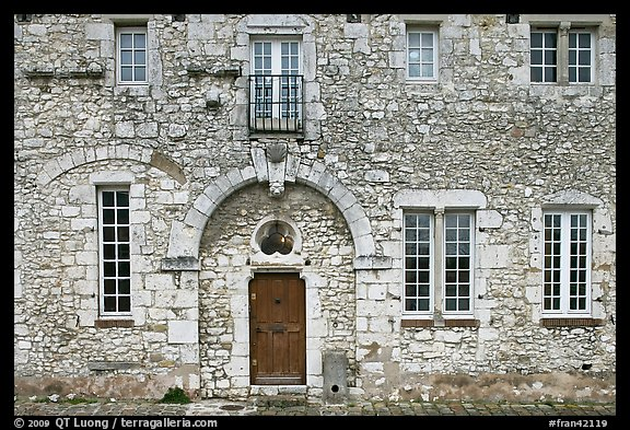 Facade of stone house, Provins. France (color)