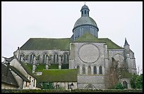 Mossy roofs and dome, Saint Quiriace Collegiate Church, Provins. France ( color)