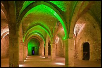 Vaulted room illuminated with colored lights, Provins. France ( color)