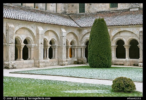 Cloister courtyard with dusting of snow Abbaye de Fontenay. Burgundy, France