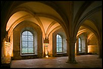 Rib-vaults, monks room, Cistercian Abbey of Fontenay. Burgundy, France