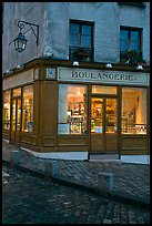 Boulangerie at dusk, Montmartre. Paris, France