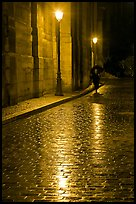 Street lamps reflected in wet pavement, with woman walking. Paris, France ( color)