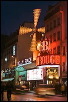 Moulin Rouge (Red Mill) Cabaret by night. Paris, France ( color)