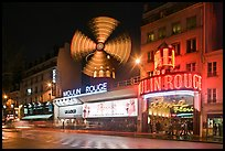 Windmill marking the Moulin Rouge Cabaret. Paris, France (color)