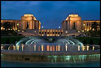 Palais de Chaillot and fountains at night. Paris, France ( color)