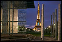 Peace monument and Eiffel Tower by night. Paris, France ( color)