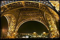 Palais de Chaillot seen through the base of Eiffel Tower by night. Paris, France ( color)