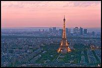 Eiffel Tower, Champs de Mars, La Defense at sunset. Paris, France ( color)