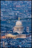 Pantheon at dusk from above. Quartier Latin, Paris, France