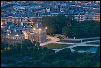 Aerial night view of Jardin du Luxembourg and Senate. Quartier Latin, Paris, France ( color)