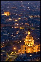 Invalides and Arc de Triomphe at night. Paris, France ( color)