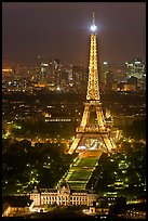 Ecole Militaire and Eiffel Tower seen from above at night. Paris, France ( color)