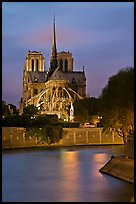 Banks of the Seine River and Notre Dame at twilight. Paris, France
