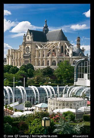 Forum des Halles and historic Saint-Eustache church. Paris, France (color)