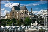 New and old architecture of Forum des Halles and  Saint-Eustache. Paris, France