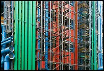 Exposed skeleton of brightly colored tubes, Pompidou Centre. Paris, France
