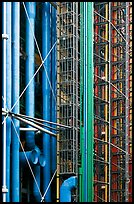 Color-coded pipes (climate,electrical,plumbing,circulation), Centre George Pompidou. Paris, France