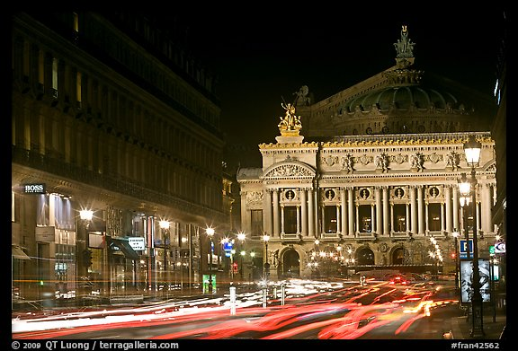 Opera (Palais Garnier) at night with lights. Paris, France