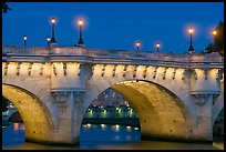 Pont-Neuf and lights by night. Paris, France