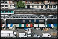 Aerial portion of metro from above, with public market stalls below. Paris, France