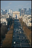 Champs-Elysees, Arc de Triomphe, and La Defense, from Ferris Wheel. Paris, France ( color)