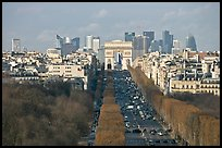 Aerial view of Champs-Elysees, Arc de Triomphe, and La Defense. Paris, France ( color)