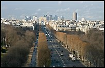 Champs-Elysees, Arc de Triomphe, in winter. Paris, France ( color)