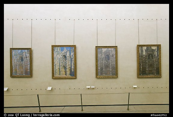 Monet's impressionist paintings of the Rouen Cathedral, Musee d'Orsay. Paris, France (color)