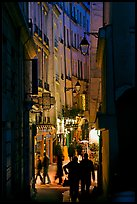 Narrow pedestrian street at dusk. Quartier Latin, Paris, France ( color)