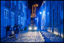 Blue lights in the streets and Saint-Etienne Cathedral. Bourges, Berry, France ( color)