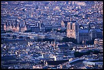 Hotel de Ville (City Hall) and Notre Dame seen from the Montparnasse Tower, sunset. Paris, France (color)