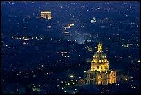 Aerial view of Arc de Triomphe and Invalides by night. Paris, France ( color)