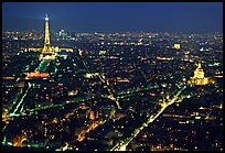 Tour Eiffel (Eiffel Tower) and Invalides by night. Paris, France ( color)