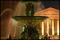 Fountain on Place de la Concorde and Madeleine church at night. Paris, France (color)